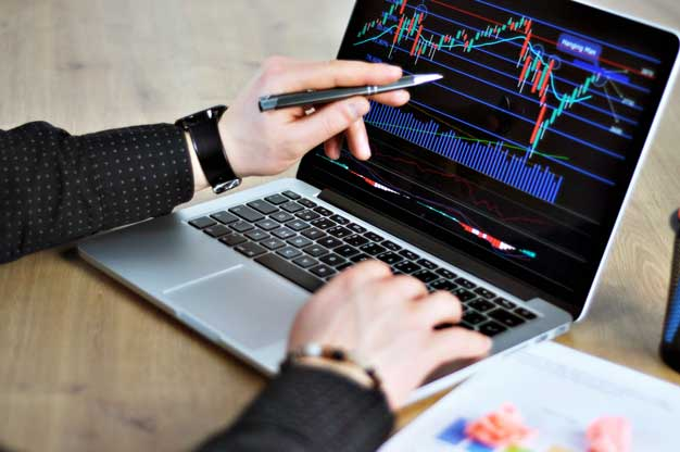 Person Looking at Crypto Stocks on a Laptop