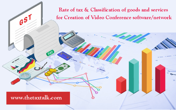 Rate of tax & Classification of goods and services for Creation of Video Conference software/network
