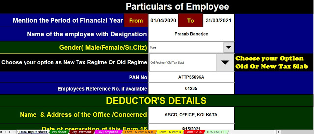 Income Tax Calculator All in One for the Private Employees for F.Y.2020-21