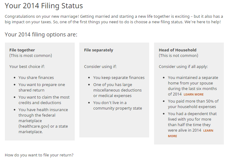 H&R Block Filing Status