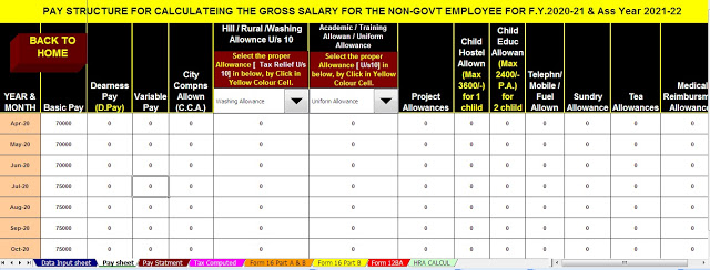 Income Tax Calculator for the Non-Govt Employees