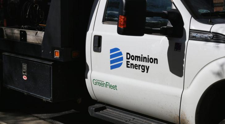 a truck bearing the Dominion Energy logo