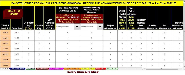 https://taxexcel.in/Salary Structure of the Non-Govt employees