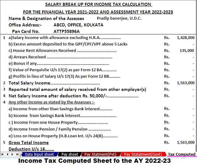 Income Tax Computed Sheet