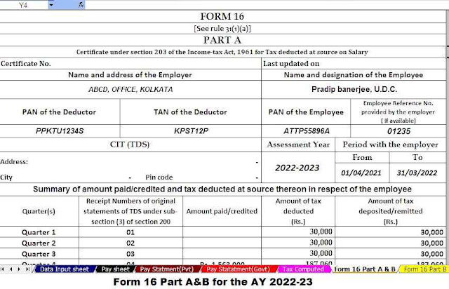 Income Tax Form 16 Part A&B