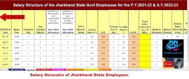 Salary Structure for the Jharkhand Employees